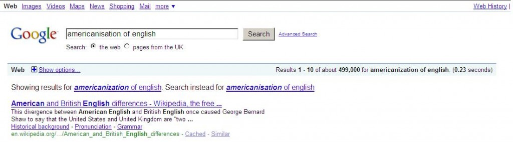 Google Results Americanisation of English