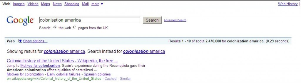 Google Results Colonise America