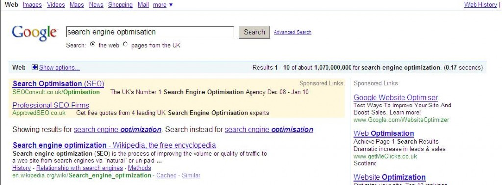 Google Results for Search Engine Optimisation