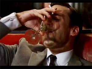 Don Draper drinking and smoking