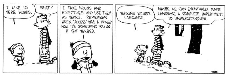 Image result for calvin and hobbes verbing