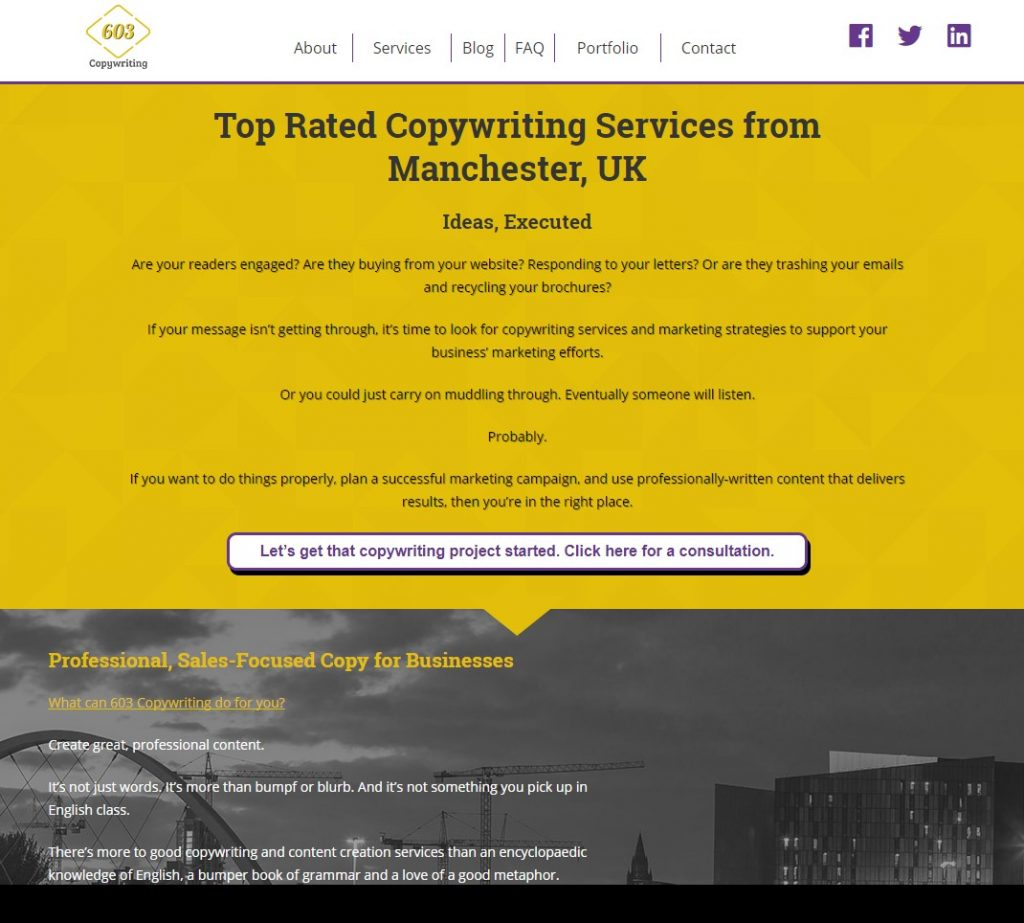 603 Copywriting - a well planned brochure website
